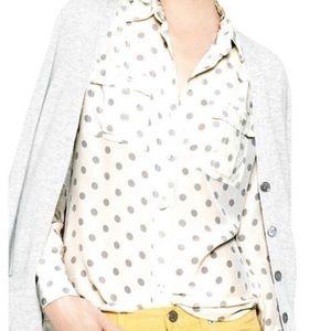 | J Crew | Blythe 100% silk polka dot blouse